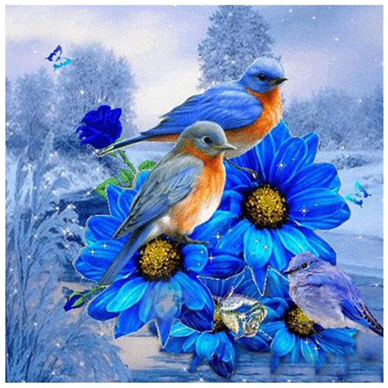 30*30cm Full Square/Round Drill 5D Diamond Bird Painting Embroidery Cross Crafts Stitch Kit Home Decor Hanging Ornament Wall