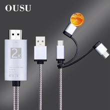 OUSU HDMI VGA Adapter 3 in 1 USB Cable For iphone Android Micro Type C xiaomi Mobile Phone Cables To Tablet Projector TV