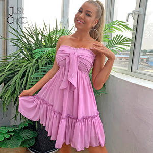 Justchicc strapless Solid Purple Boho Dress Ruffles High Waist Bow Summer Sexy Dress Sleeveless Backless Mini Dress 2020(China)