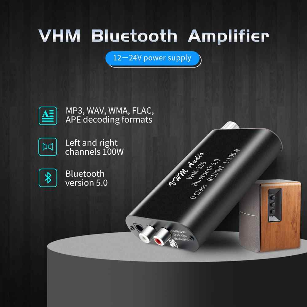 VHM338 Mini Bluetooth 5.0 Digital Amplifier Hi Fi Stereo Penerima Audio Nirkabel Power Amp 100W + 100W Suara Mobil amplifier