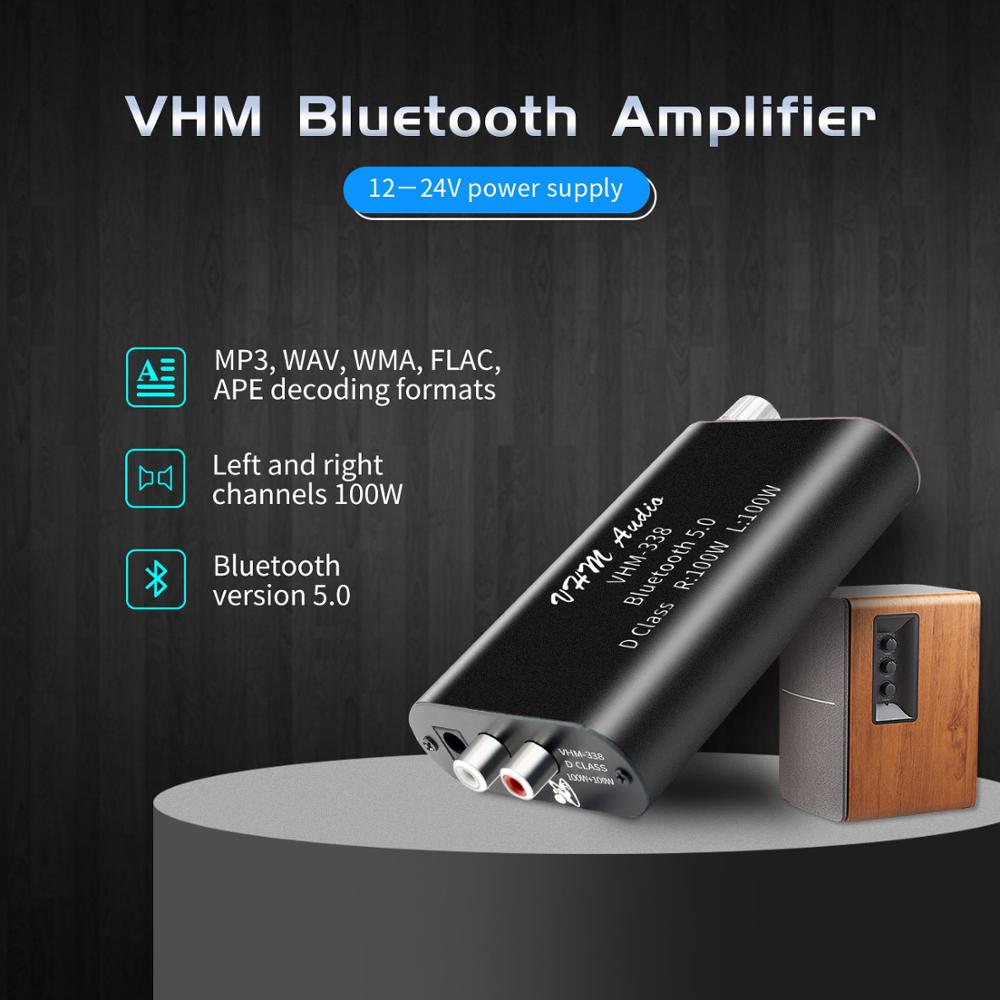 VHM338 Mini Bluetooth 5.0 Digital Amplifier Hifi Stereo Wireless Audio Receiver Power Amp 100W+100W Car Sound Amplifiers