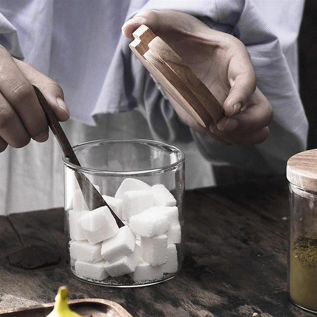 סט 3 יח' צנצנות זכוכית לתבלינים/קפה/תה/סוכר כולל כף עץ  2