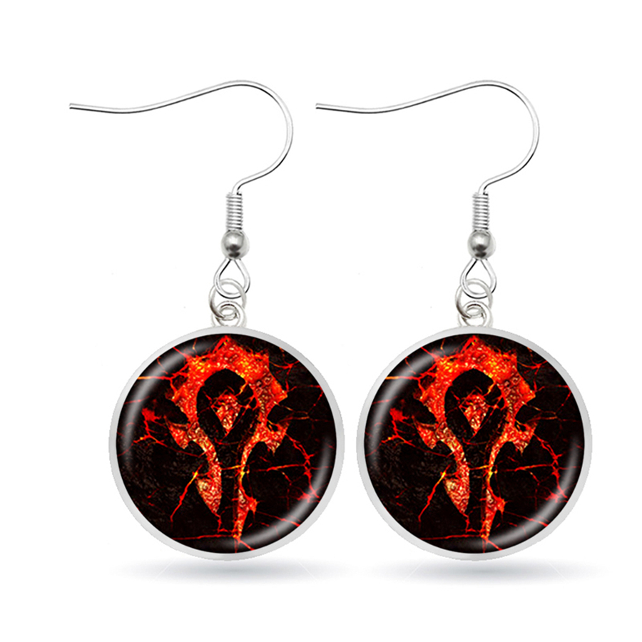 New WOW Horde Dangle Earrings Horde Symble Game Movie Earrings WOW Silver Earrings Dropshipping Aretes Modernos Jewelry image
