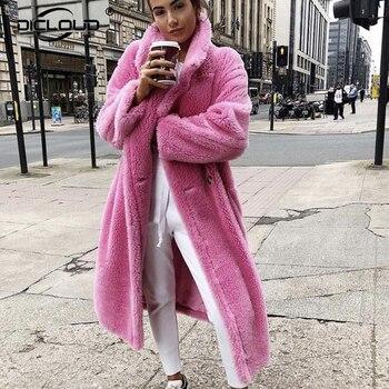 Veste en peluche pour femme, Long manteau d'hiver, épais et chaud, vêtement d'extérieur épais, en fausse laine d'agneau, 2020 1