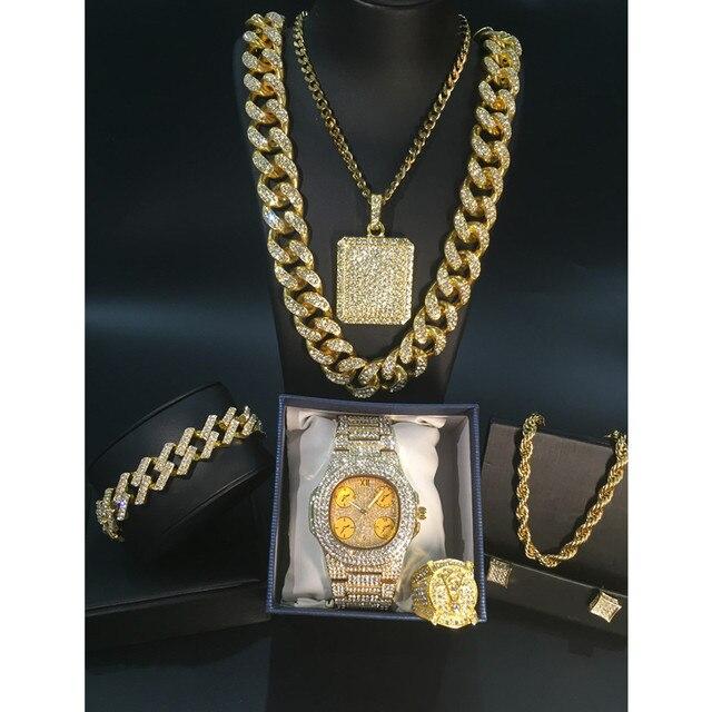 Conjunto de reloj y collar y pulsera y anillo de lujo para hombre, conjunto combinado de joyas de reloj cubano, cadena de Hip Hop 3
