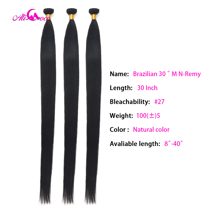Ali Coco Straight 8-40 Inch Human Hair Extensions 100% Human Hair 28 30 32 34 36 38 Inch Brazilian Hair Weave Bundles Non Remy