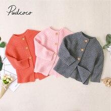 Детская одежда на осень и зиму, вязаные свитера для новорожденных девочек, куртка, пальто, верхняя одежда, топы, однотонная одежда
