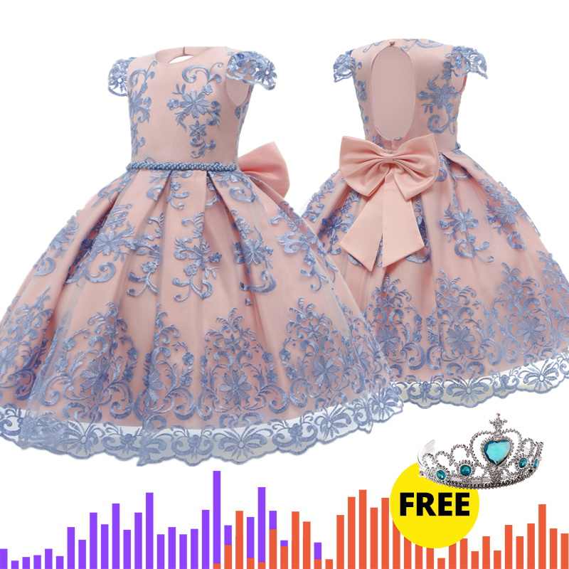 Flower   Applique   Girls     Dress   Princess   Dress   Kids   Dresses   for   Girls   Lace Formal Ball Gown Little   Girls   Clothes Children Clothing