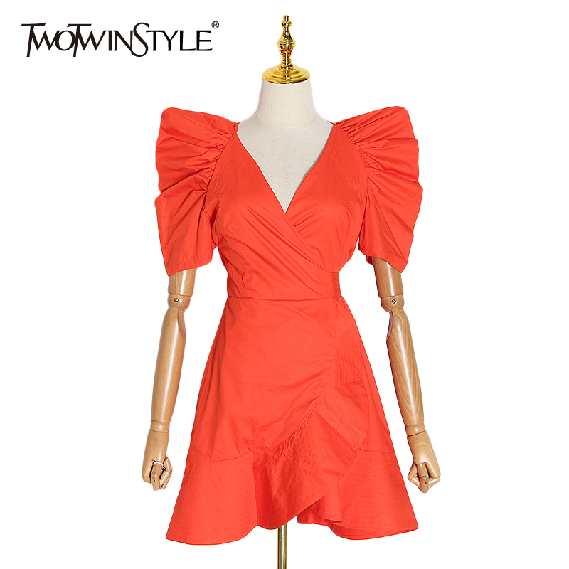 TWOTWINSTYLE Asymmtrical Ruffle Women Dresses V Neck Puff Short Sleeve High Waist Lace Up Dress For Female Fashion 2020 Clothing