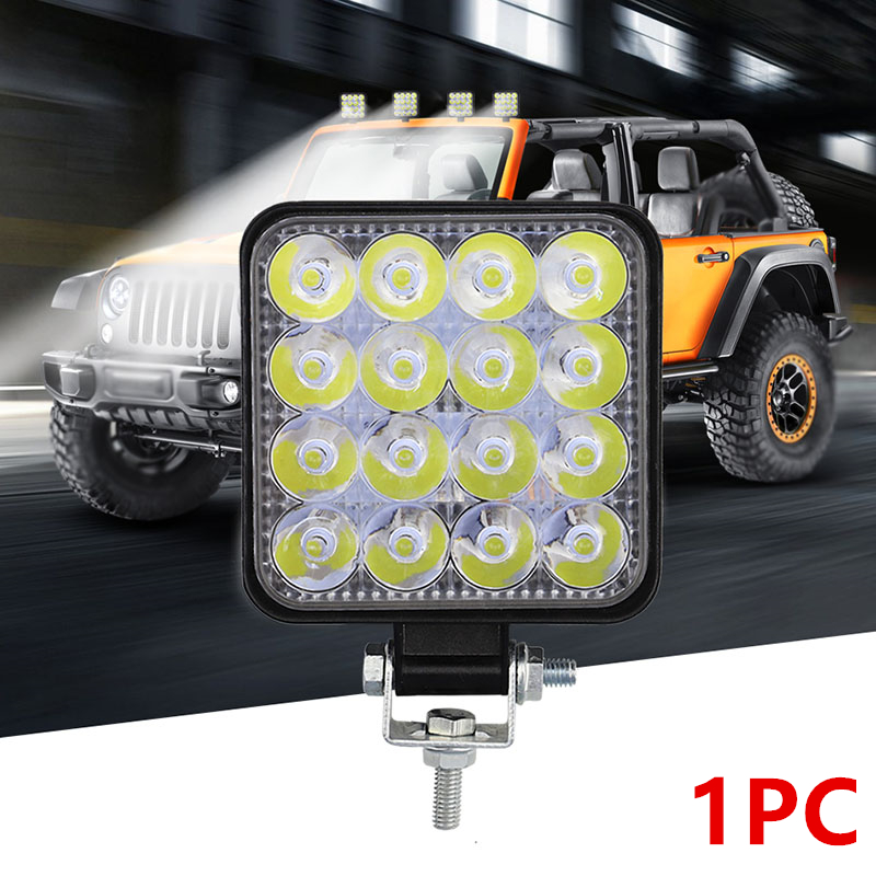 Car Truck Square LED White Work Light Floodlight 12V 24V Fog Lamp Off-Road Driving 48W 16LED Flood Work Bulb Flood Beam Bar