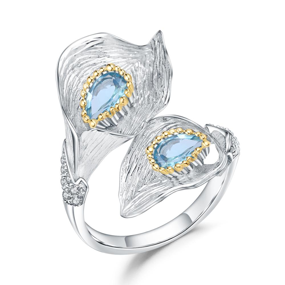 GEM'S BALLET 1.25C Natural Swiss Blue Topaz Calla lily Rings Pure 925 Sterling Silver Handmade Adjustable Ring for Women Jewelry