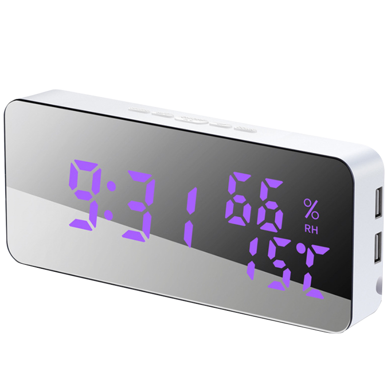 Mobile Phone Charging Voice Control Temperature And Humidity Led Variable 115 Color Mirror Alarm Clock Creative Sleepy Wall Cloc(China)