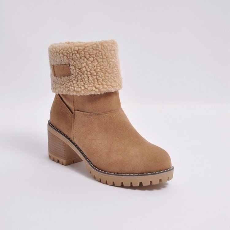 Fujin ผู้หญิงข้อเท้าฤดูหนาวรองเท้า Plush อุ่นรองเท้าส้นสูงส้นสูง Slip แฟชั่นผู้หญิงเพิ่มสั้นรองเท้า