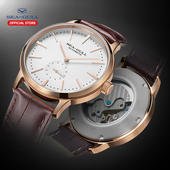 Seagull men's watch simple business automatic mechanical watch waterproof leather stainless steel sapphire watch 819.12.6075 leisure automatic mechanical genuine leather waterproof watch with rome digital business for various occasions m172s brown