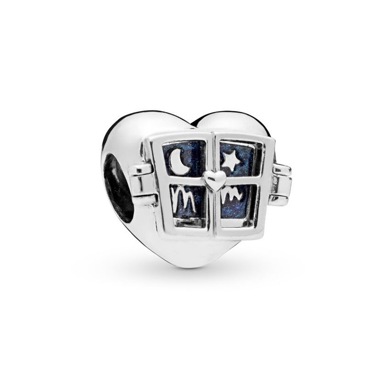 2019 New Original 925 Sterling Silver Window Heart Charm Blue Enamel Night Fit Pandora Bracelet Bangle DIY Women Jewelry