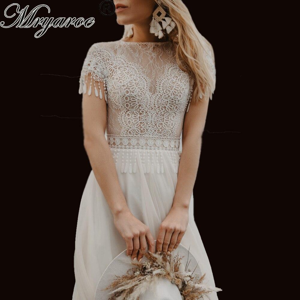 Mryarce Boho Chic Wedding Dress Delicate Lace Fringe Keyhole Back A Line Bridal Gowns