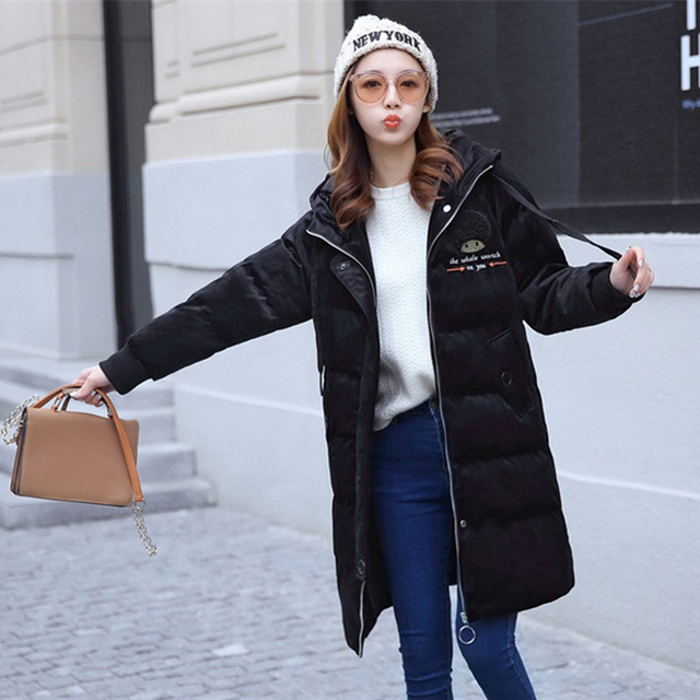 2019 Gold velvet winter parka women thicken warm cotton jacket hooded coat plus size female embroidery Cotton-padded jacket 3