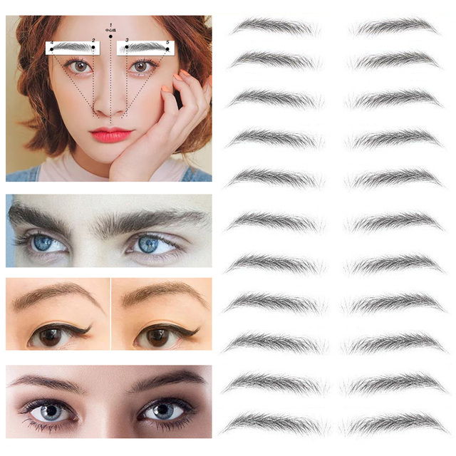 2020 Magic 4D Hair-like Authentic Eyebrows Grooming Shaping Makeup Brow Shaper Brow Stickers Tattoo False Eyebrows Cosmetics 5