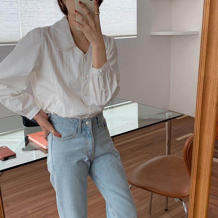 H11801217e8fb4886b36f8a5707c838fdF - Spring / Autumn Korean Turn-Down Collar Long Sleeves Buttons Lace Blouse