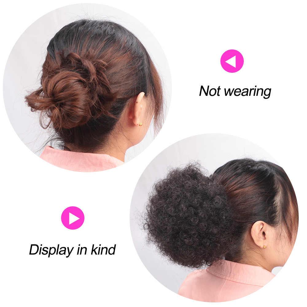 Moderno rainha sintético puff afro curto kinky encaracolado chignon cabelo bun cordão rabo de cavalo wrap hairpiece falso extensões de cabelo