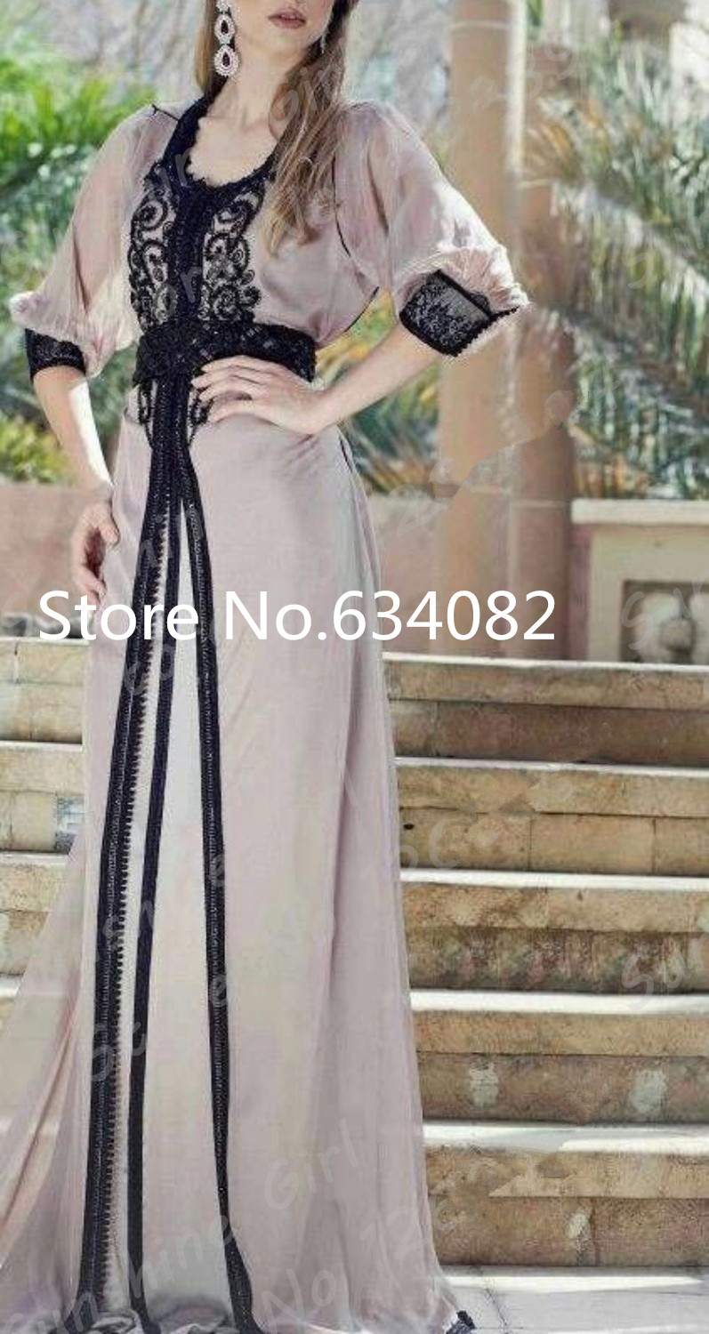 Robe De Soiree Long Sleeve Evening Gown 2018 Scoop Beaded Prom Formal Party Gown Sexy Chiffon Dubai Mother Of The Bride Dresses