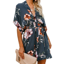 Echoine Women mini summer dress Button-up printed V-neck short-sleeved dresses sexy casual elegant boho beach sundress cloth
