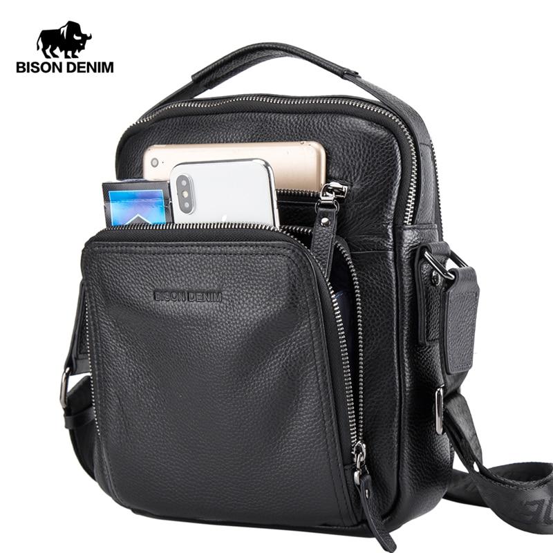 BISON DENIM Genuine Leather Men Bags Ipad Handbags Male Messenger Bag Man Crossbody Shoulder Bag Men's Travel Bags N2333-1BS