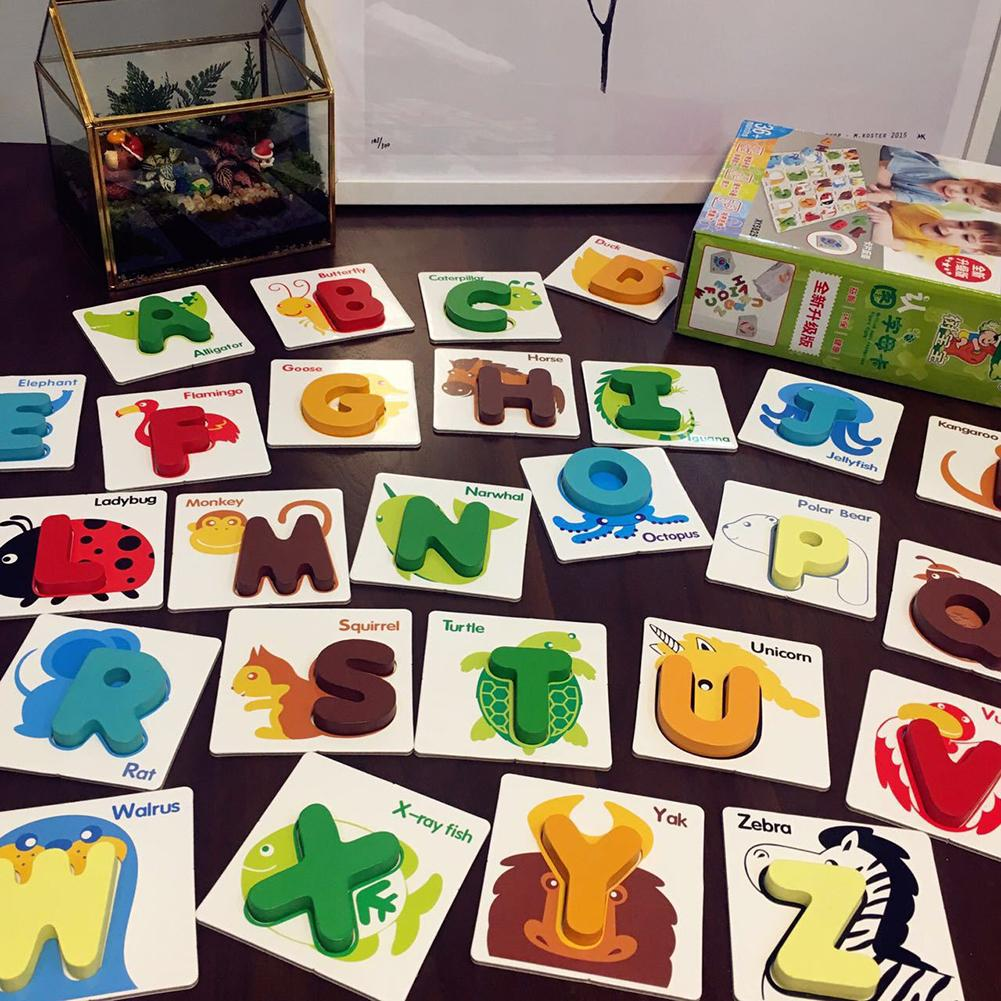 26Pcs Wooden  Abc Alphabet Letters Animal Match Puzzles Cards Early Education Math Toys For Children Preshcool Learning Toy