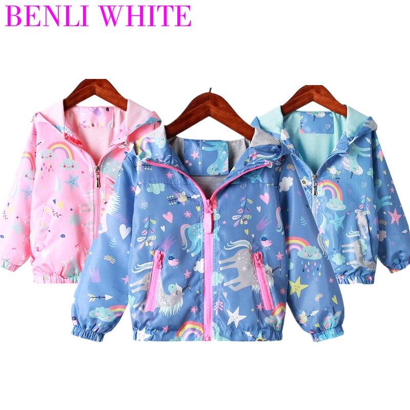 2020 Girls Coats Children Sun Protection Windbreaker Baby Fashion Print Jackets  Infant Rainbow Unicorn Jacket For Girl Clothes