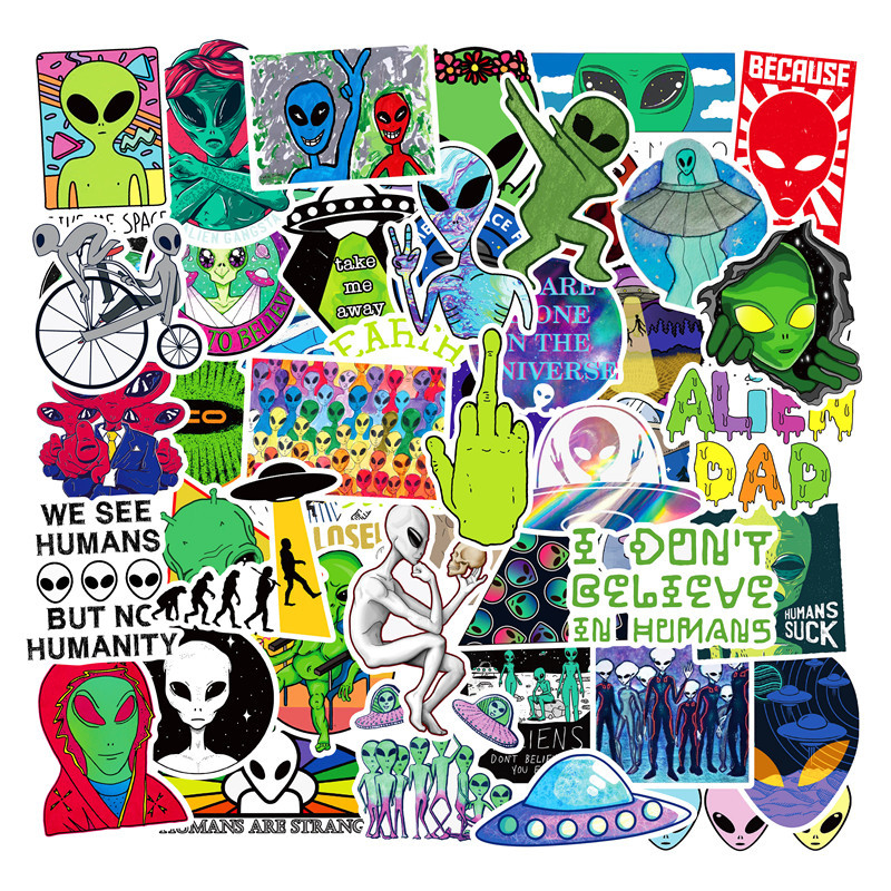 50PCS Cartoon Green Alien <font><b>UFO</b></font> PVC Waterproof <font><b>Sticker</b></font> Luggage Bicycle Computer Skate Children Gift image