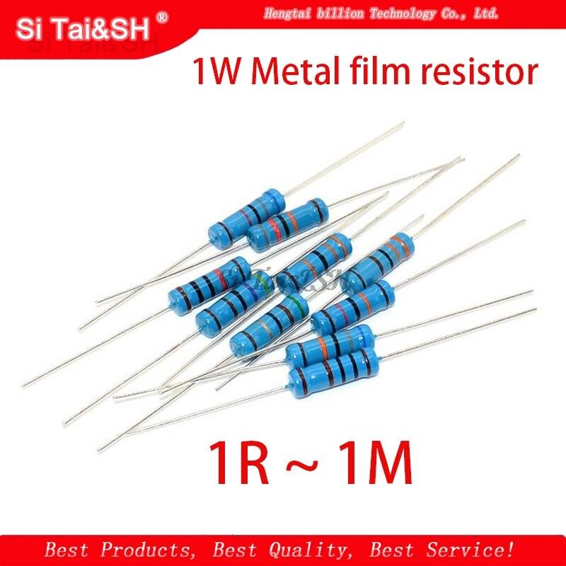 20pcs 1W filme De Metal resistor 1% 1R ~ 1M 2R 10R 22R 47R 100R 330R 47 22 10 1K 4.7K K K K 100K 330K 470K 1 2 10 22 47 100 330 ohm|Resistores|   -