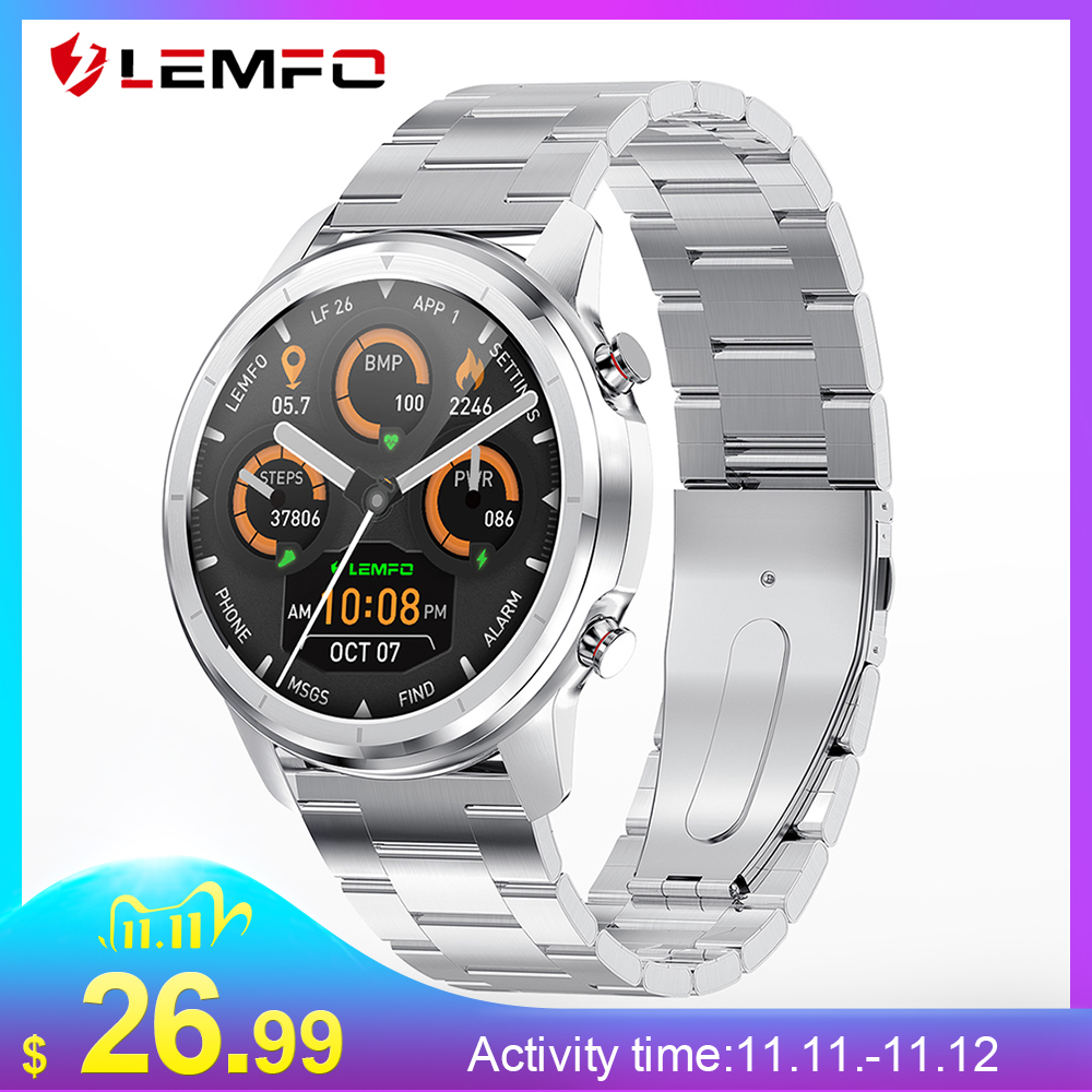 LEMFO LF26 Full Touch 360 360 HD Amoled Screen Smart Watch Men Bluetooth 5 0 Weather Watch Face IP67 Waterproof Smartwatch