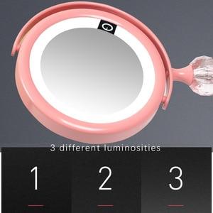 Image 2 - LED 미러 메이크업 미러 터치 스크린 럭셔리 미러 3 광도 LED 조명 180 학위 조절 테이블 화장 거울