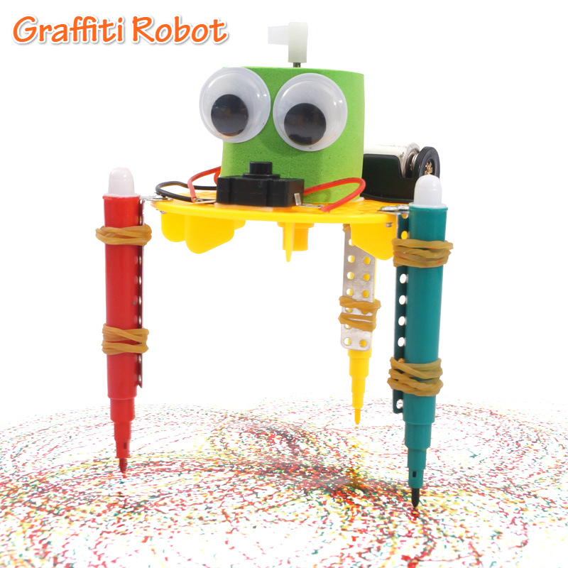 DIY Electric Graffiti Robot Kids Science Discovery Toys For Children Physics Experiment Project Educational Toys For Kids Gift