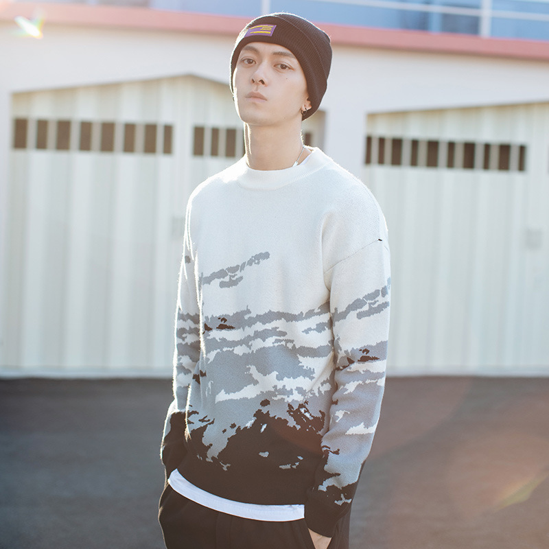 2020 New Tide Brand Sweater Men's Trend Gradient Color Jacquard Men's Round Neck Pullover Sweater Casual Japan Style Pullover