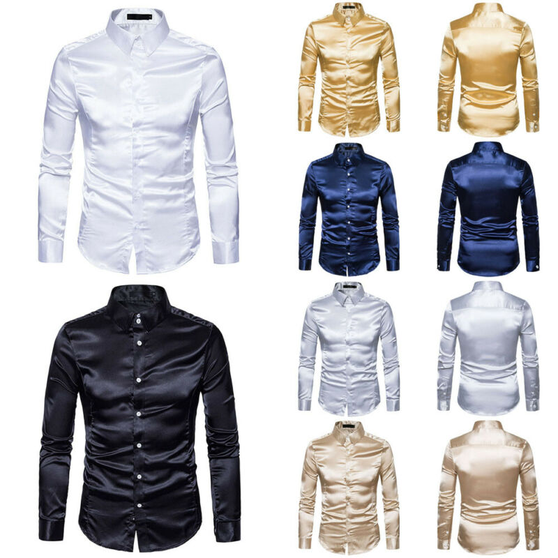 2019 Men's Melberry Silk Solid Dress Shirts Long Sleeve Turn Down Collar Slim Fit Shirts Tops Male Formal Vintage Shirt Autumn