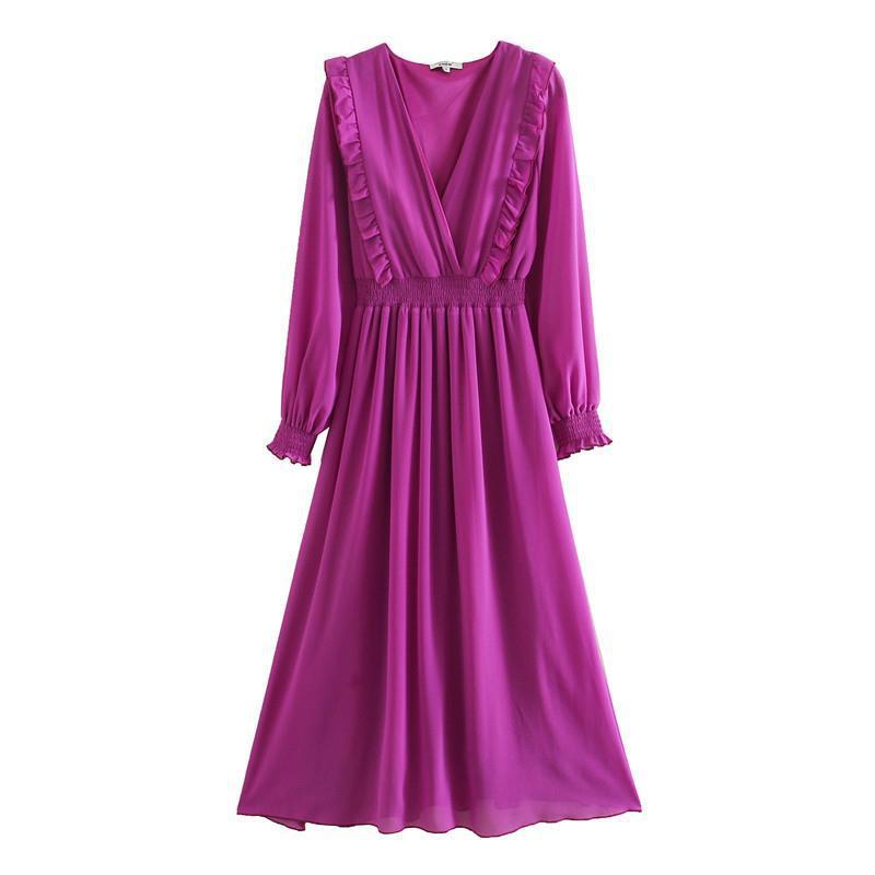 2020 Z Новое модное Брендовое повседневное летнее платье с рукавами фонариками из полиэстера Свободное платье с v образным вырезом Платья      АлиЭкспресс