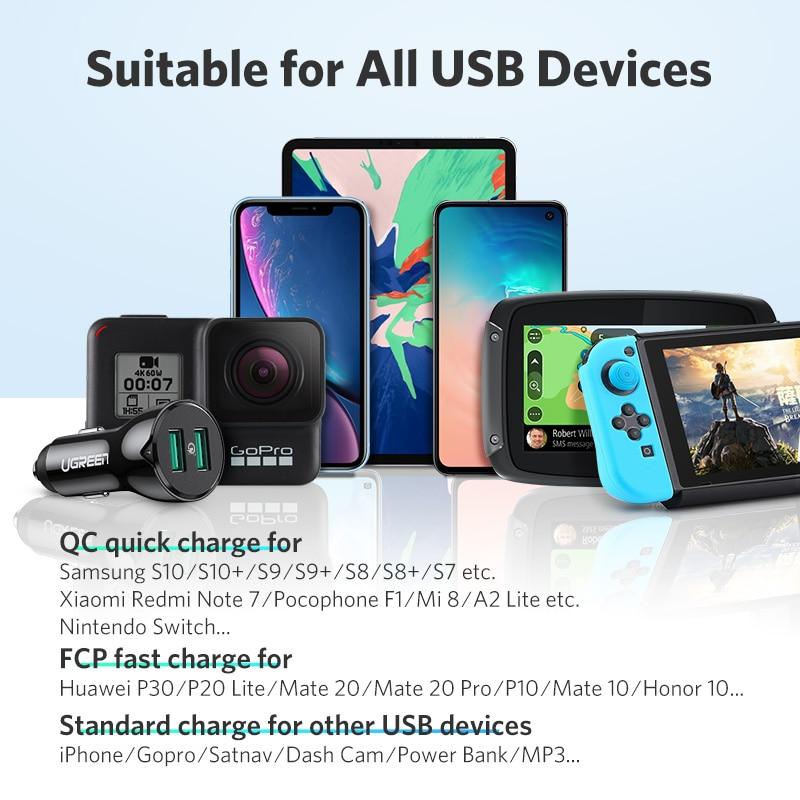 Ugreen Pengisian Cepat 3.0 36 W QC Charger Mobil untuk Samsung S10 9 - Aksesori dan suku cadang ponsel - Foto 4