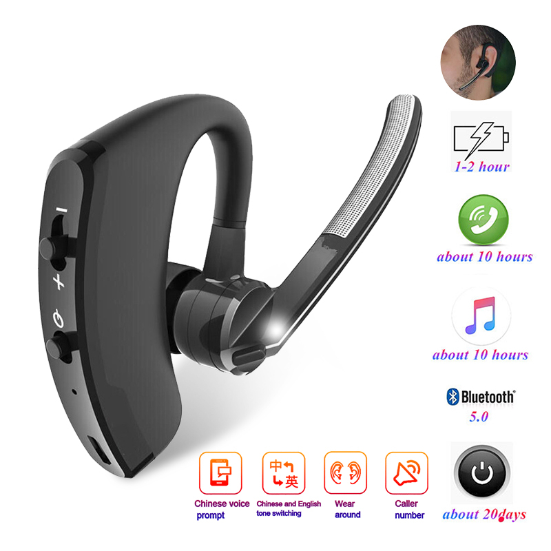 V8 rtSpo Blutooth Earphone Wireless Stereo HD Mic Headphones Bluetooth Hands In Car Kit With Mic For iPhone Samsung Huawei Phone