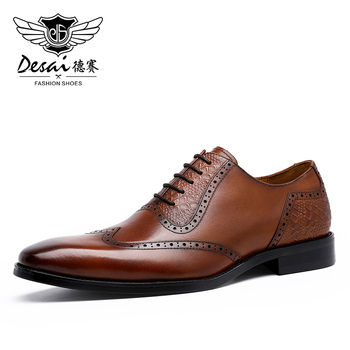 DESAI Mens Shoes Genuine Leather Wedding Shoes For Men Dress Formal Business Real Cow Leather Breathable High Quality New heinrich summer new quality men shoes leather for men business dress shoes leather lace breathable men shoes zapatos de vestir