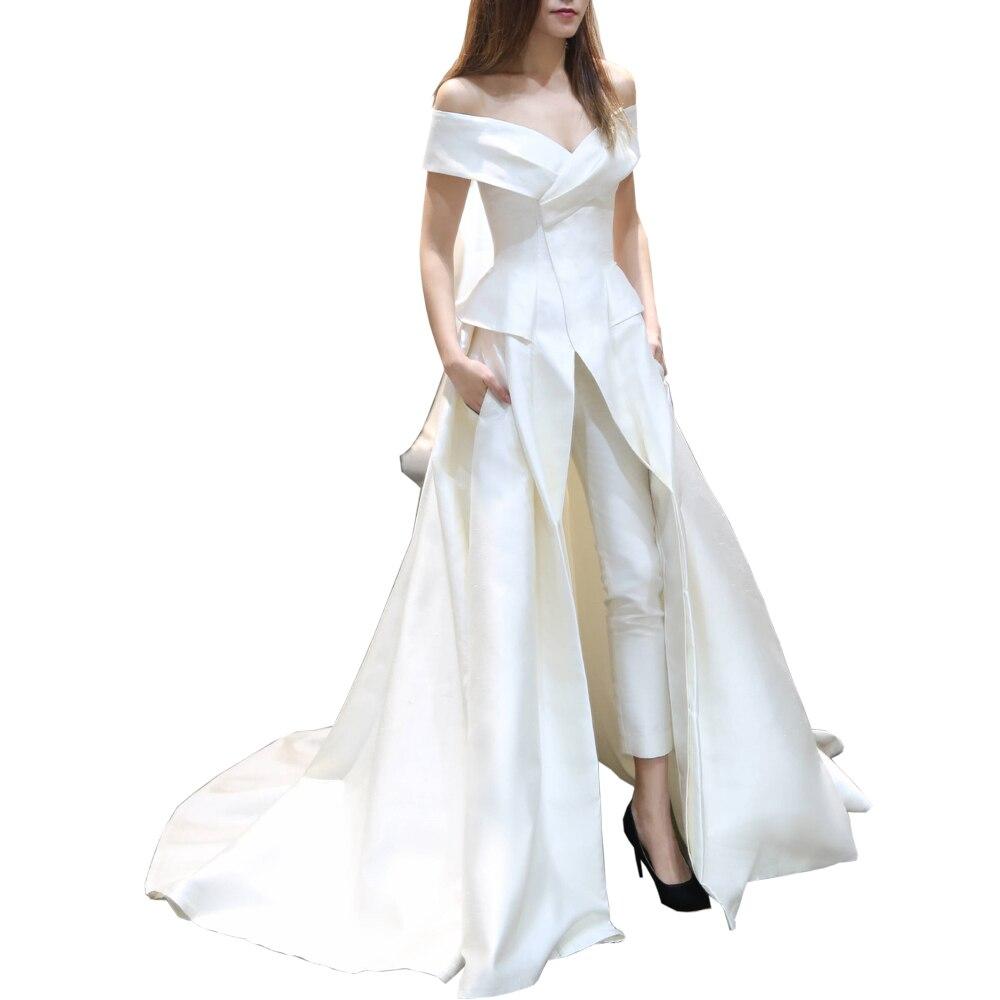 Matte Stain Prom Jumpsuit With Train 2020 Off Shoulder Pocket Design Plus Size Arabic Dubai Occasion Evening Pant Suit Set