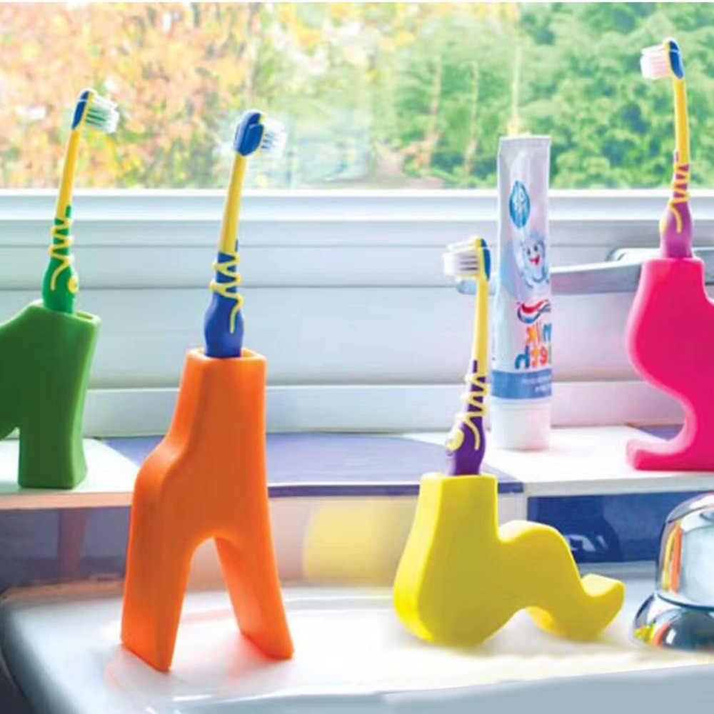 Creative Silicone Toothbrush Holder Stand Cute Cartoon Design Tooth Brush Storage Organizer Bathroom Accessory For Kids