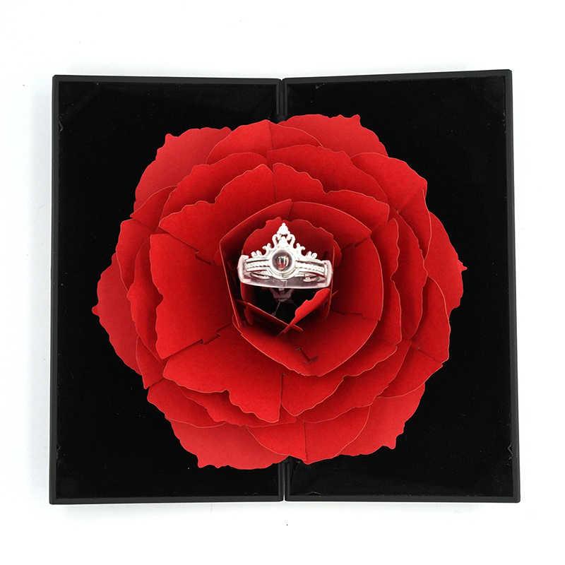 Dois Em Um 100 Línguas EU Te Amo Anel Coroa de Projeção Presente Para Amantes Mulheres Meninas Anéis De Casamento Com Criativo caixa de flor
