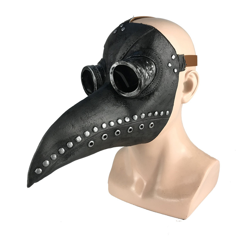 Pennywise Halloween Mask Plague Steam Beak Doctor Mask Festive Latex Leather Party Mask Supplies Black Copper Nail Silver One Size