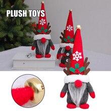 New Handmade Cute Santa Gnome Plush Doll With Deer Horns Christmas Elf Decoration Swedish Tomte Ornament Home Decor Peluches
