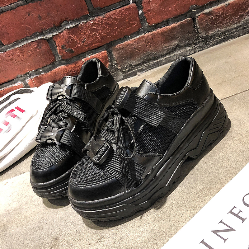 Brand High Platform Sneakers Women 2019 New Women Shoes Sneakers Dames Fashion Black Chunky Sneakers Ladies White Sneakers