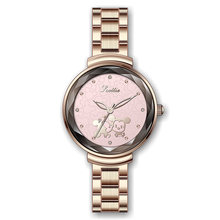Top Brand Women Mickey Mouse Unique Watch Quality Japan Quartz Steel Bracelet Rose Gold Ladies Diamond Dress Relojes Mujer(China)