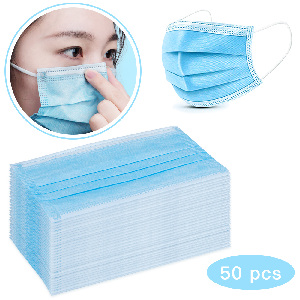 50pcs Fast Shipping Face Mouth Mask Disposable 3 Layer Nonwoven Anti Haze Dustproof  Earloop Protective Masks Anti-bacterial