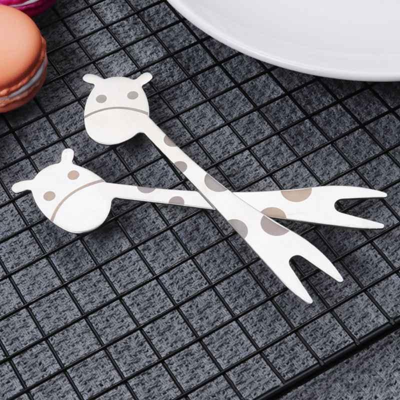 ステンレス鋼 2 歯キリンフォークデザートケーキフルーツサラダカトラリー食器愛ハートハンドルドロップ船 JUL3