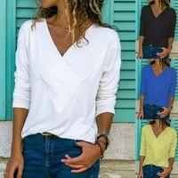 Casual повседневная женская летняя футболка с длинным рукавом с v-образным вырезом хлопковая Свободная рубашка сплошной цвет большие размеры ...